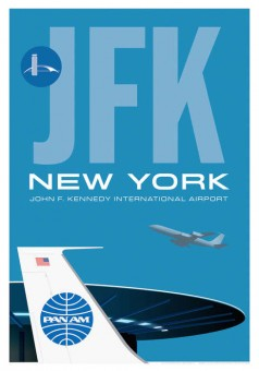 JFK Poster John F Kennedy New York Pan Am Boeing 707 Airport World Port Saucer JA022