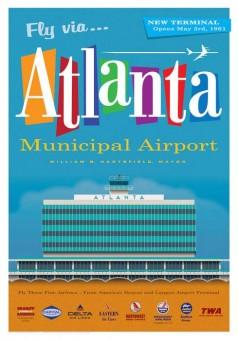 Atlanta Municipal Airport Retro Jet Age Poster by Chris Bidlack 14x20 JA025