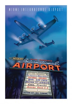 MIA Poster Retro Miami International Airport by Chris Bidlack Super Constellation JA031