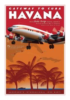 Havana Airport  Retro Travel Poster by Chris Bidlack Constellation JA032