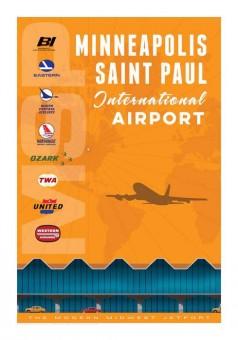 MSP Minneapolis-Saint Paul International AirportJet Age Retro Poster 14x20 by Chris Bidlack JA034
