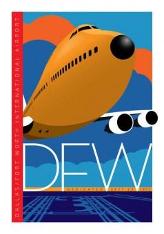 DFW Dalas Fort Worth Poster International Airport  Poster by Chris Bidlack Braniff 747 JA045