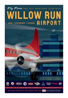 Willow Run Airport  Artistic Retro Poster 14x20 by Chris Bidlack JA046