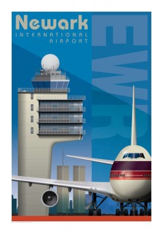 EWR Newark International Airport Artistic Jet Age Retro Poster 14x20  Boeing Jumbo 747 by Chris Bidlack JA049