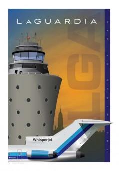 LGA LaGuardiaAirport Jet Age Poster Eastern Boeing 727 14x20 by Chris Bidlack JA051