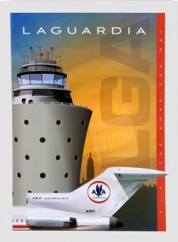 LGA LaGuardiaAirport Jet Age Poster American Airlines Boeing 727 Astrojet 14x20 Chris Bidlack JA050