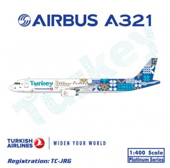 """Turkish Airlines Airbus A321 Reg# TC-JRG """"Discover The Potential"""" Phoenix 11241 Scale 1:400"""