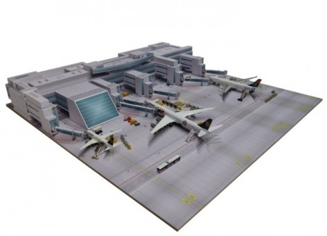 Munich Airport Central plaza with 15.7 x 15.7 Inch Plate Herpa 530293 1-500 scale