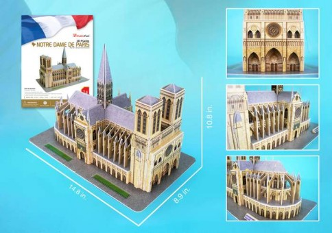 Notre Dame Of Paris 3D Puzzle With Book 74 Pieces