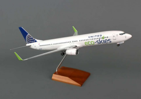 Skymarks United 737-900ER 1/100 Eco Skies W/WOOD Stand &GEAR Scale 1:100