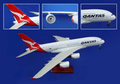 Qantas A380 With Wood Stand & Gear