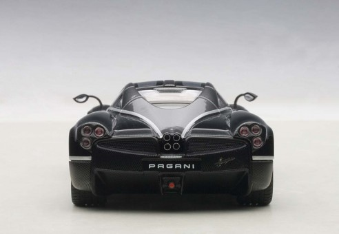 Metallic Black Pagani Huayra with Silver Stripes AUTOart 58209 Die-Cast Model Scale 1:43