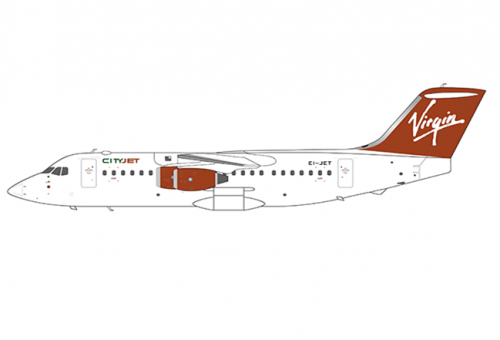 Virgin express BAE 146-200A EI-CTY with stand JC Wings EW2146001 scale 1:200