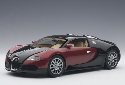 Red & Black Bugatti EB 16.4 Veyron Production Car Beige Interior L.E. 1200 Pcs Worldwide AUTOart 70909 Scale 1:18