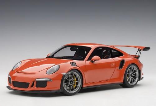 Lava Orange Porsche 991 (911) w/dark grey wheels AUTOart 78168 scale 1:18