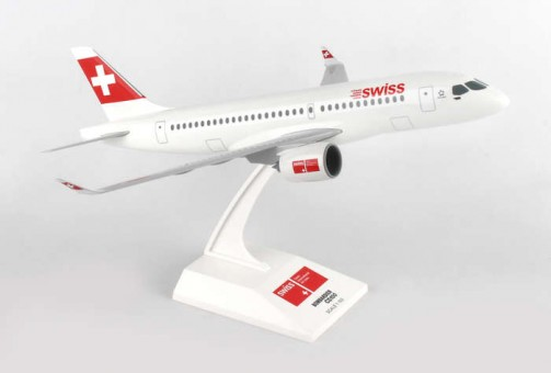 New CS100 Bombardier Swiss With Stand Skymarks SKR869 Scale 1:100