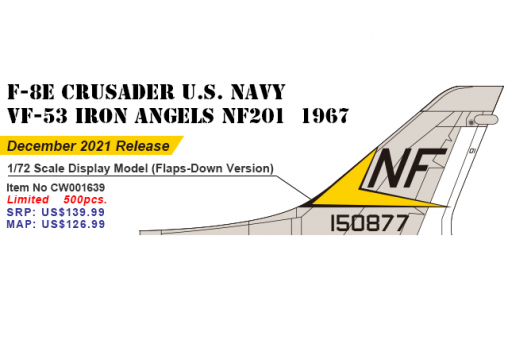 Flaps Down Version USN F-8E Crusader  VF-53 Iron Angels NF209 1967 Century Wings CW-001639 scale 1:72