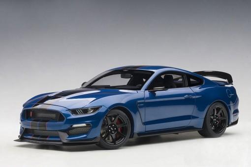 Lightning Blue Black Stripes Shelby Mustang GT-350R Black stripes AUTOart 72933 Scale 1:18