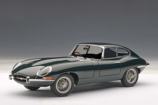 Jaguar E-Type Coupe Series 1 3.8, Green, with Metal Wire-Spoke Wheels 73612 AUTOart 1:18