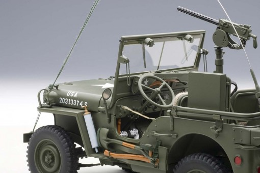 Jeep Willys With Trailer Army Green Accss included AUTOart 74016 Scale 1:18