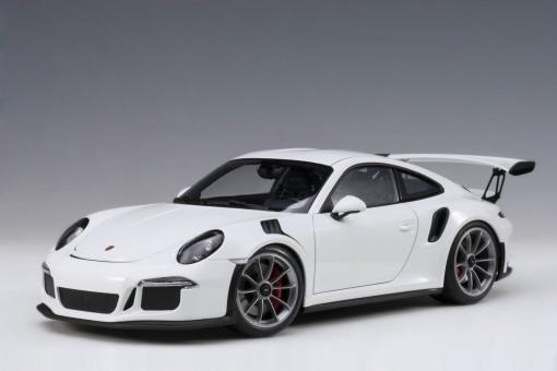 White Porsche 991 (911) w/dark grey wheels AUTOart 78166 scale 1:18