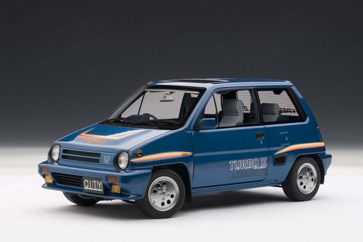 SALE! Lower price! Honda City Turbo II, Blue with Stripes, with Motocompo in White 73283 scale 1:18