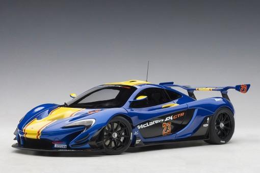 Blue McLaren P1 GTR Metallic with yellow stripes die-cast AUTOart 81542 scale 1:18