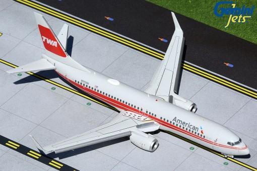 Flaps down American Airlines TWA heritage livery Boeing 737-800(W) winglets N915NN Gemini 200 G2AAL473F scale 1:200