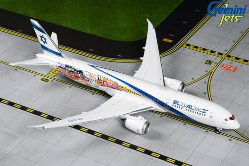 EL AL אל על Boeing 787-9 4X-EDD Dreamliner Las Vegas & San Francisco Gemini GJELY1882 scale 1:400