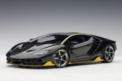 Lamborghini Centenario Clear Carbon With Yellow Accents AUTOart 79114 scale 1:18
