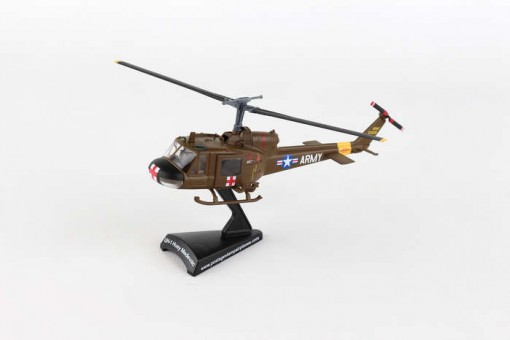 Stand US Army UH-1 Helicopter Huey Medvac die cast Postage Stamp PS5601-2 Scale 1:87