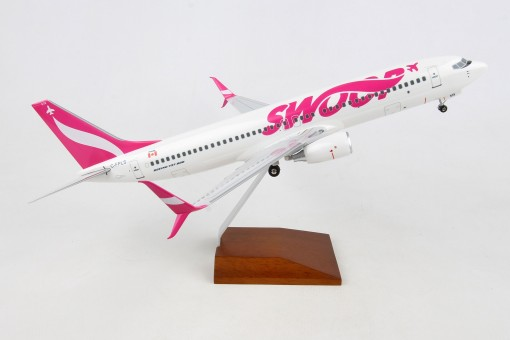 Swoop Canadian Airline Boeing B737-800 Scimitars C-FPLS Wood stand and Gears Skymarks Supreme SKR8273 Scale 1-100