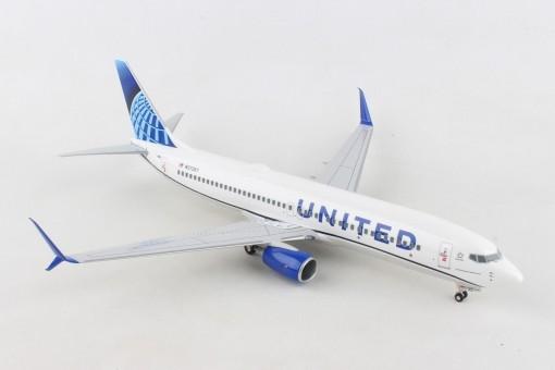United New Livery Boeing 737-800 scimitars N37267 wood stand & Gears Skymarks Supreme SKR8284 scale 1-100