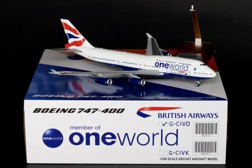 """British Airways Boeing B747-400 """"One World"""" Reg# G-CIVD JC2BAW853 JC Wings Scale 1:200"""