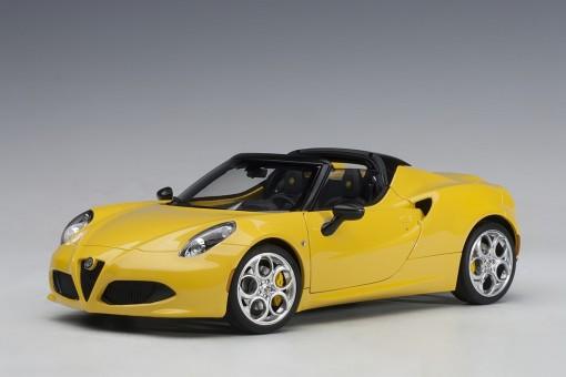 Yellow Alfa Romeo 4C Spider die-cast Giallo Prototipo AUTOart 70143 scale 1-18