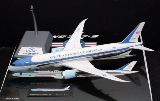 USAF BOEING 787-9 AIR FORCE ONE 78000 polished with stand Inflight B-USAF-789-01P Scale 1:200