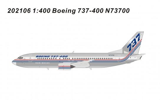 Boeing House 737-400 N73700 die-cast Panda models 202106 scale 1:400
