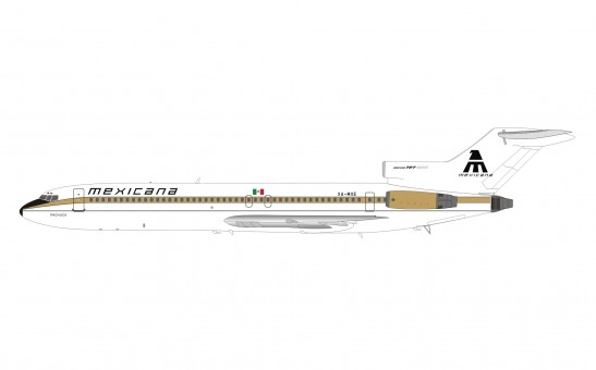 Mexicana Boeing 727-200 XA-MXE gold stripe with stand InFlight IF722MX0921 scale 1:200