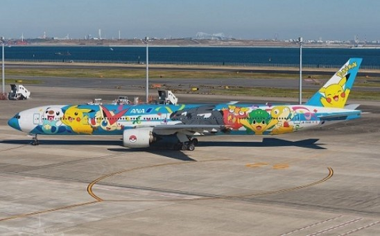 """ANA All Nippon Airways Boeing 777-300 Flaps JA754A """"Pokemon Livery"""" JC Wings EW2773001A scale 1:200"""