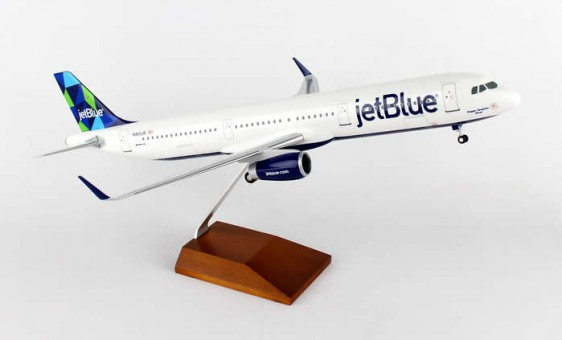 """JetBlue Airbus A321 Sharklets """"Mint"""" Tail Wood Stand & Gears Skymarks Supreme SKR8321 Scale 1:100"""
