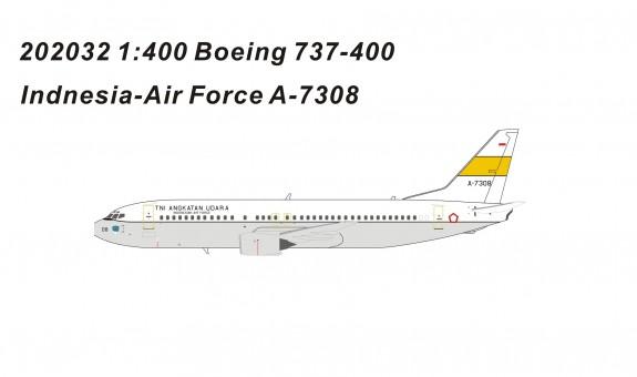 Indonesian Air Force Boeing 737-400 A-7308 die-cast Panda models 202032 scale 1:400