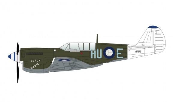 """RAF P-40N """"Black Magic"""" 78 Sqn Morotai early 1945 Hobby Master HA5509 scale 1:72"""