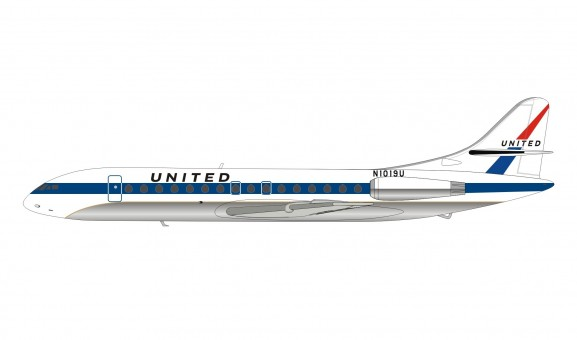 United Airlines Sud SE-210 Caravelle VI-R N1019U Inflight IF210UA1218 scale 1:200
