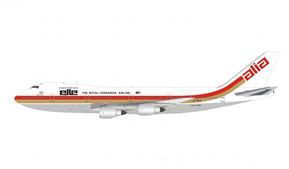 Alia Royal Jordanian Boeing 747-200 JY-AFA with stand InFlight IF742RJ1218P scale 1:200