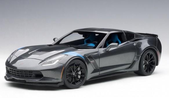 Grey metallic Chevrolet Corvette Grand Sport red-stripes blue fender AUTOart 71272 1:18