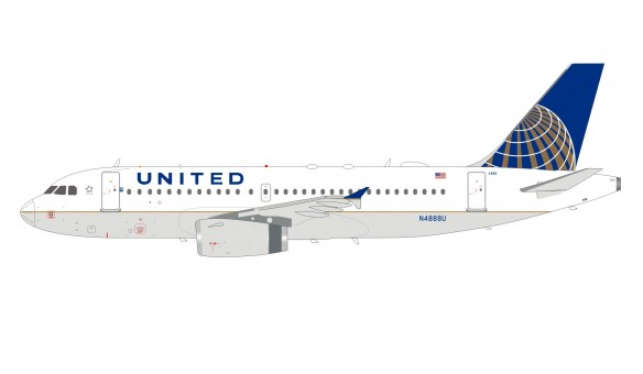 United Airlines Airbus A319-132 N4888U with stand InFlight IF319UA1219 scale 1:200