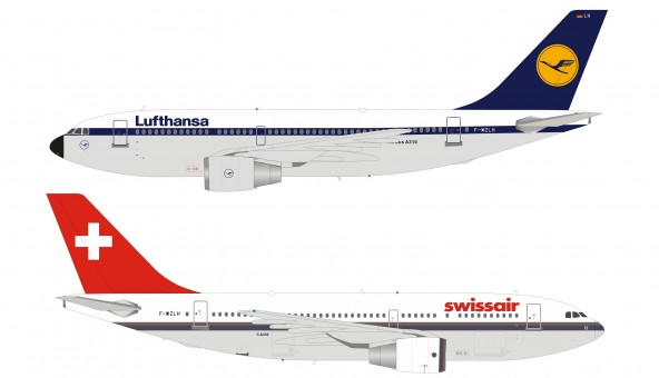 Dual Lufthansa/Swissair Demo Airbus A310-221 F-WZLH with stand Inflight/B-Models B-310-DEMO scale 1:200