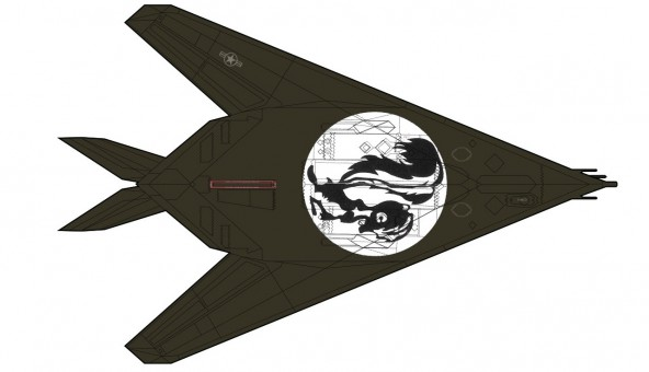 F-117A Nighthawk 85-831 Skunkworks artwork on underside Hobby Master HA5807 scale 1:72