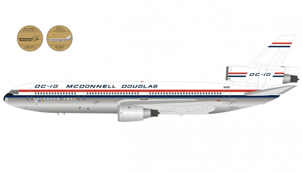 50th Anniversary House McDonnell Douglas DC-10-50 N10DC polished with collectors coin, w/stand InFlight IF-DC10-50 scale 1:200