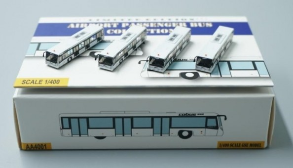 White Airport Bus Set  of 4 Accessories AA4003  scale 1:400